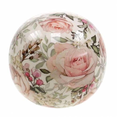 Boule décorative roses faïence rose clair Ø12cm