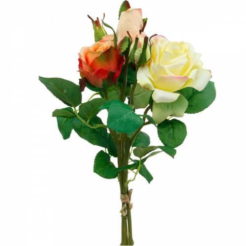 Fleurs artificielles, bouquet de roses, décorations de table, fleurs en soie, roses artificielles jaune-orange