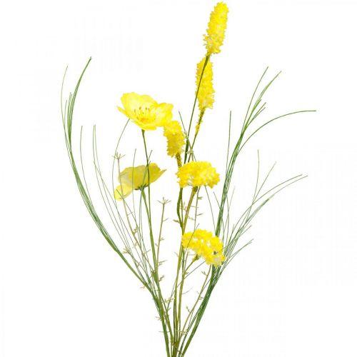 Bouquet artificiel jaune, renoncule pavot et arbuste en bouquet, fleurs en soie, décoration printanière L45cm