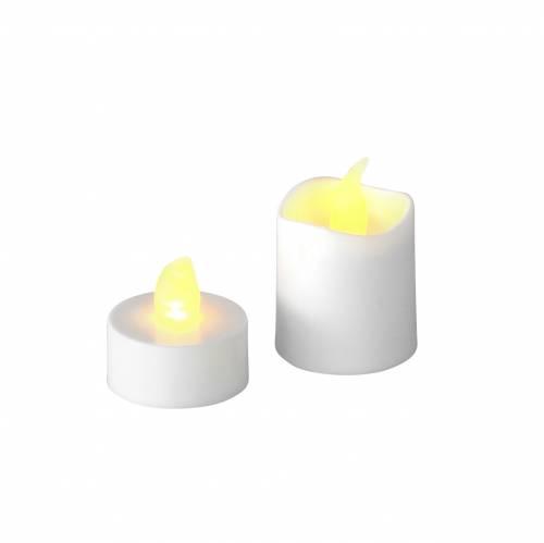 Bougies chauffe-plat LED effet flamme blanc chaud lot de 16 32 piles assorties