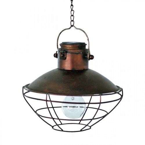 Suspension LED, suspension rustique, énergie solaire Ø24,5cm H24cm