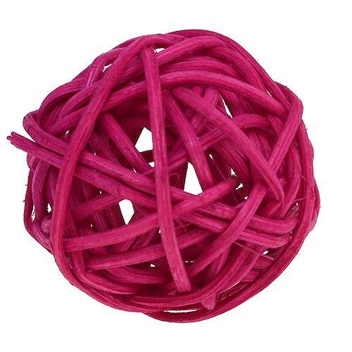 Assortiment de boules de rotin rose/fuchsia/lilas 3 cm 72 p.