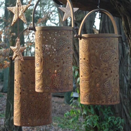 Lanterne en métal patiné, décoration estivale, set de lanterne à motif cachemire Ø20 / 19 / 14cm H23,5 / 17 / 12,5cm