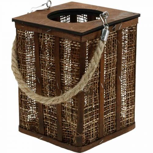 Lanterne à motif tressé, décoration bougie à suspendre, lanterne en bois H41cm