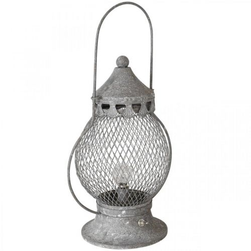 Lanterne en métal, lampe LED, Shabby Chic Ø16cm H33,5cm