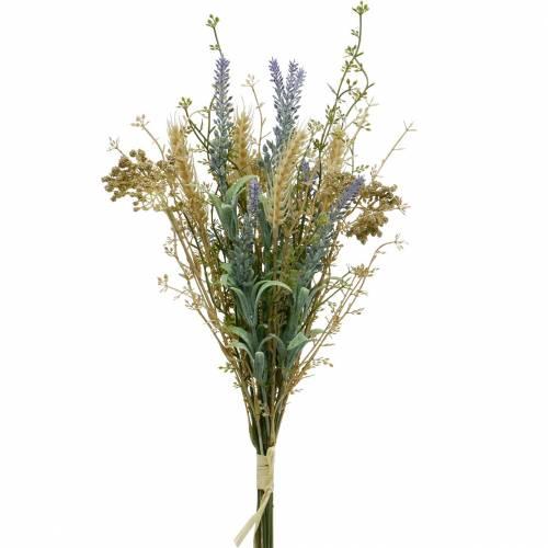Bouquet de lavande artificielle, fleurs en soie, bouquet champêtre de lavande aux épis de blé et reine des prés