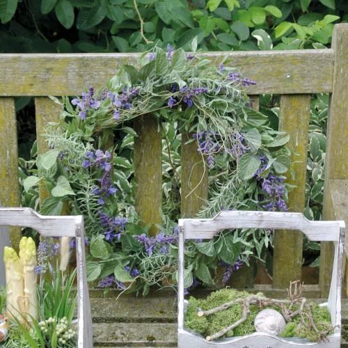 Couronne de lavande méditerranéenne Ø50cm, couronne de fleurs artificielles à la lavande et au romarin