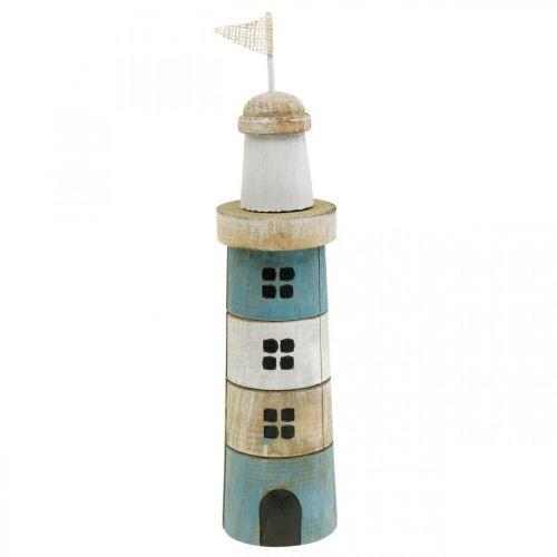 Décoration maritime, phare en bois, décoration marine, phare décoratif bleu H31cm