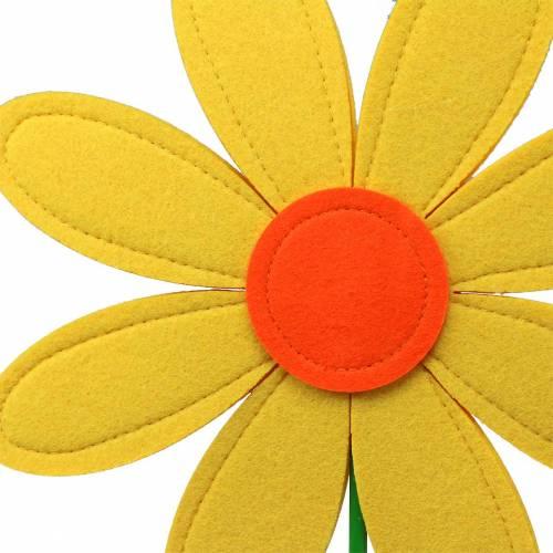 Fleur en feutre jaune, orange, vert Ø25.5cm x H68cm dressing