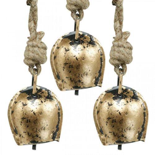 Cloches en métal à accrocher, décoration maison de campagne, cloches de vache dorées, aspect antique 5 × 3,5cm 12pcs