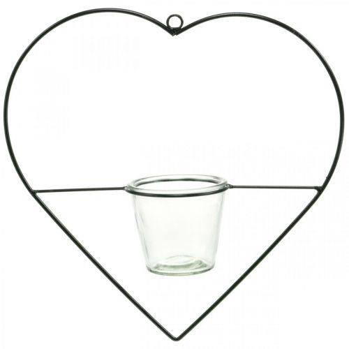 Lanterne coeur en métal 38cm photophore à suspendre avec verre