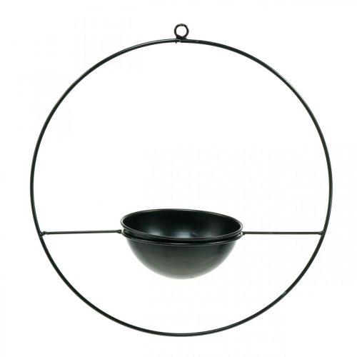 Cache-pot à suspendre anneau en métal noir Ø38cm avec bol Ø15cm