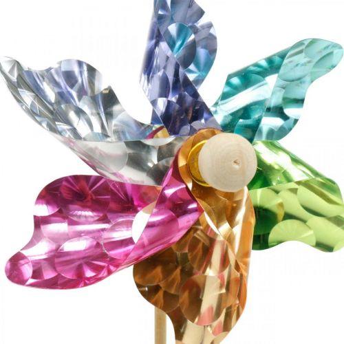 Mini-moulinet, décoration de fête, moulin à vent sur la tige colorée, décoration pour le jardin, bouchon fleur Ø8,5cm 12pcs