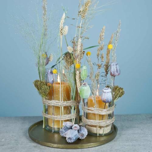 Capsules de pavot artificiel jaune, marron 6pcs