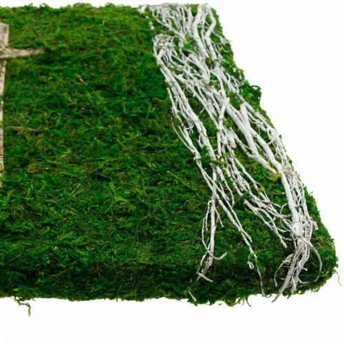 Moss picture vignes et croix pour arrangement funéraire vert, blanc 40 × 30cm