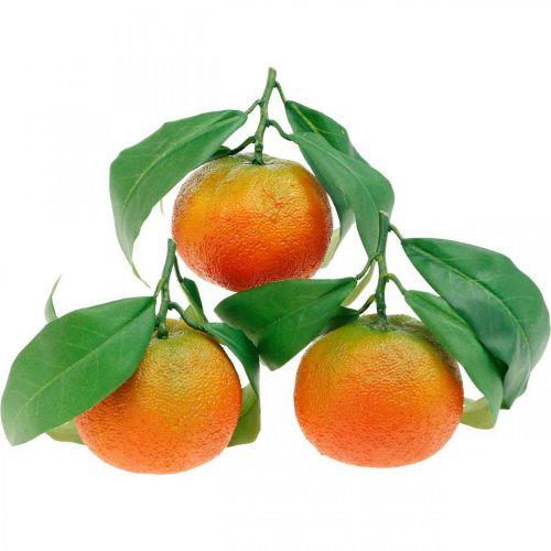 Fruits décoratifs, oranges avec feuilles, fruits artificiels H9cm Ø6,5cm 4pcs