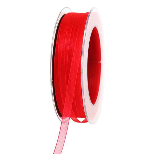 Ruban en organza avec lisière tissée rouge 7 mm 50 m