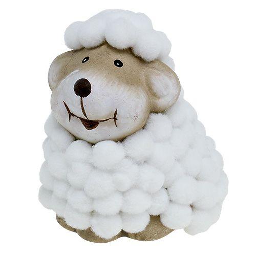 Mouton déco Blanc, gris H7,5cm 1P