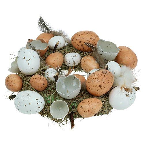 Couronne de Pâques avec oeufs Ø24cm nature, blanc