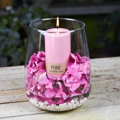 Bougie pilier PURE 130/70 Bougie décorative rose cire naturelle durable