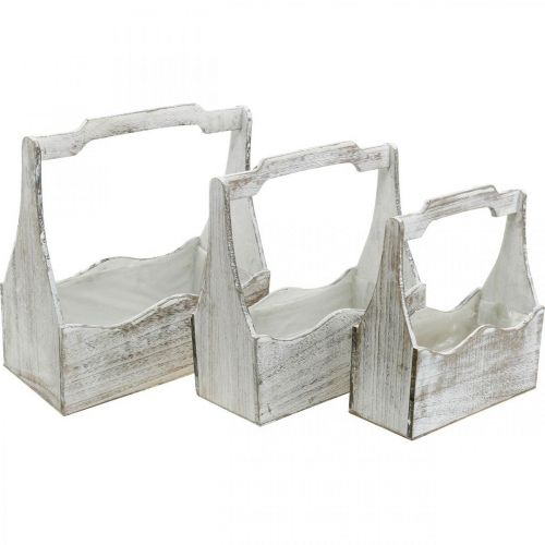 Boîte à plantes, boîte à outils, poignée de boîte à fleurs, ensemble de conteneurs en bois 33,5 / 30,5 / 26,5 cm
