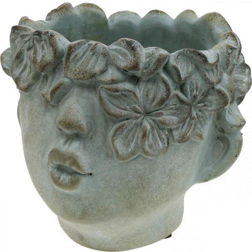 Tête de plante, buste décoratif, tête de fleur, décoration béton, aspect antique H18cm