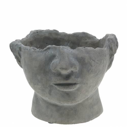 Buste tête de plantation en béton pour plantation gris H12cm 2pcs