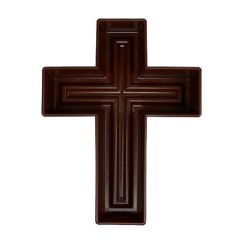 Croix végétale 24cm x 32cm marron, 1p