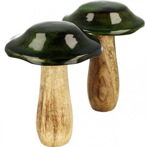 Décoration d'automne en bois de manguier vert champignon en bois Ø9cmH11cm 2pcs