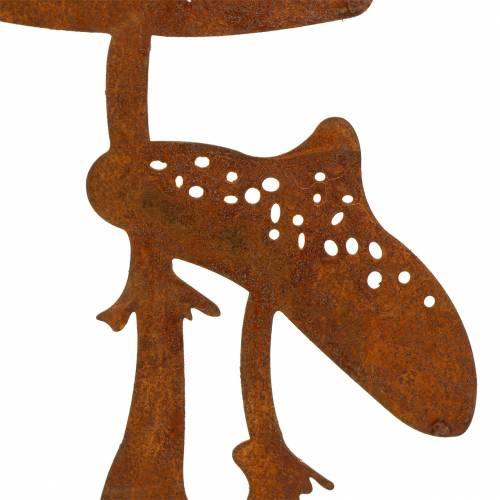 Pique de jardin duo de champignons rouille patinée H. 49,5 cm