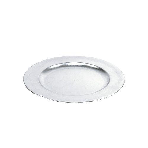 Assiette en plastique 25 cm argenté avec effet feuilles d'argent
