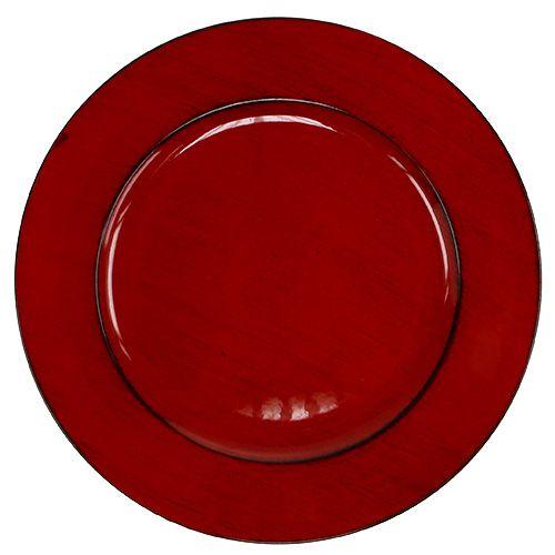 Assiette en plastique Ø 33 cm rouge-noir
