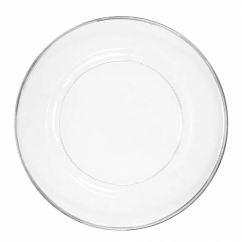 Assiette décorative avec rebord argenté plastique transparent Ø33cm