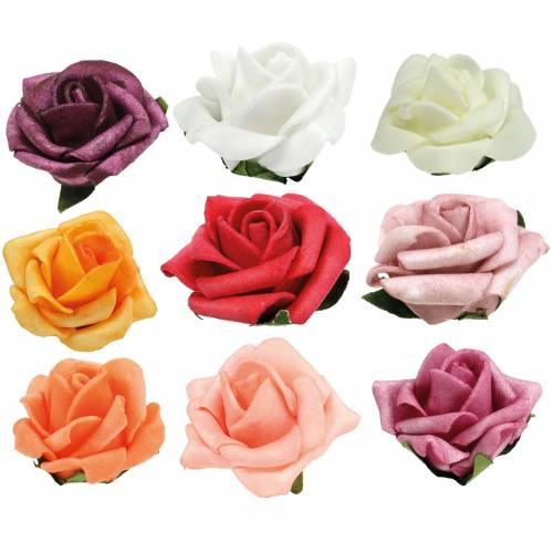 Foam-Rose Ø3,5cm différentes couleurs 48pcs