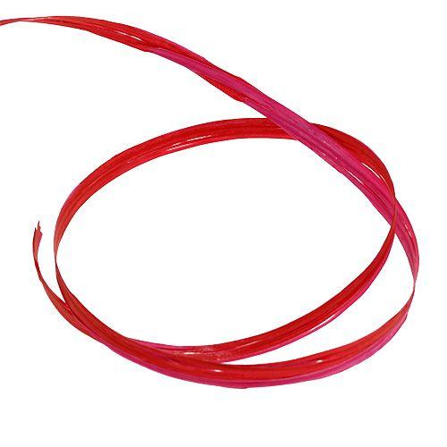 Ruban de raphia bicolore rose-rouge