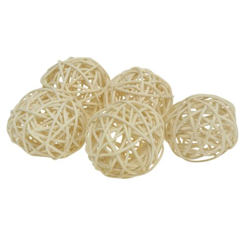 Boule rotin blanchi Ø4cm 24pcs