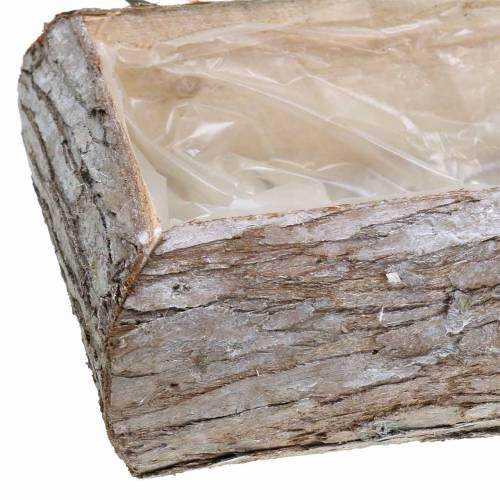 Jardinière bois lavé blanc 34 × 17cm H9cm