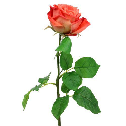 Rose artificielle saumon 67,5 cm