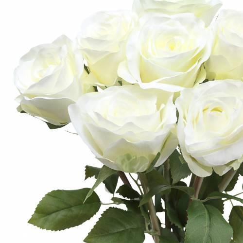 Fleurs décoratives en soie rose en bouquet crème 36cm 8pcs