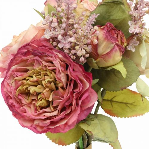Roses fleurs en soie dans un bouquet d'automne bouquet rose, violet H36cm