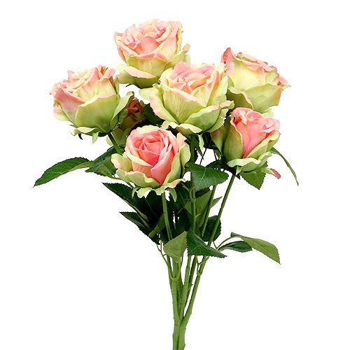 Piquet de roses factices vert, rose 55 cm