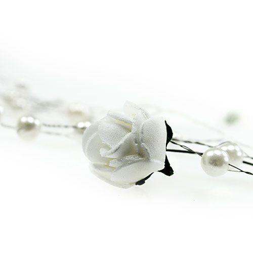 Guirlande de roses blanche avec perles 135 cm