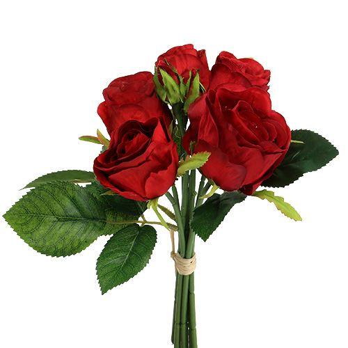 Bouquet de roses couleurs rouges 25 cm