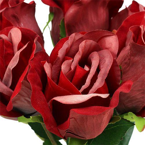 Rose de velours rouge Ø8cm L45cm 6P