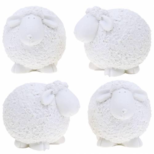 Décoration de Pâques mouton blanc H7cm 4pcs