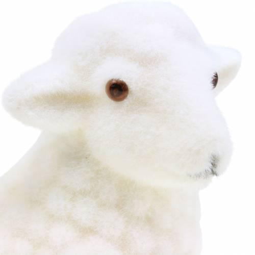 Agneau de Pâques décoratif couché floqué blanc H15cm