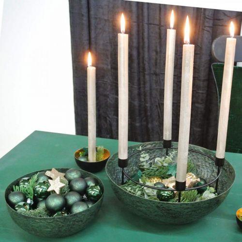 Bol décoratif bol jardinière en métal vert vintage Ø31cm