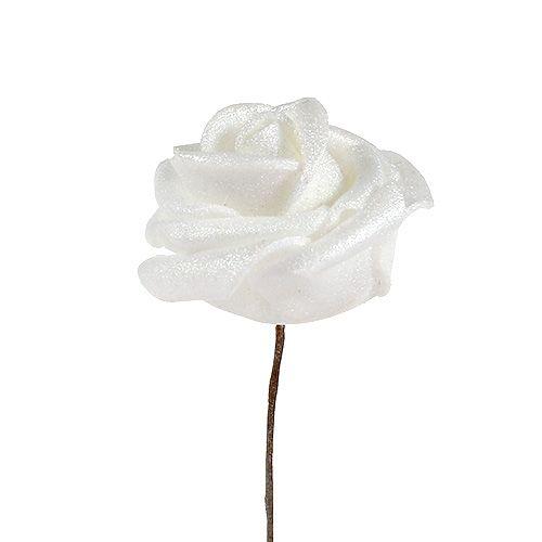 Roses en mousse blanches en nacre 2,5 cm de Ø 120 ex