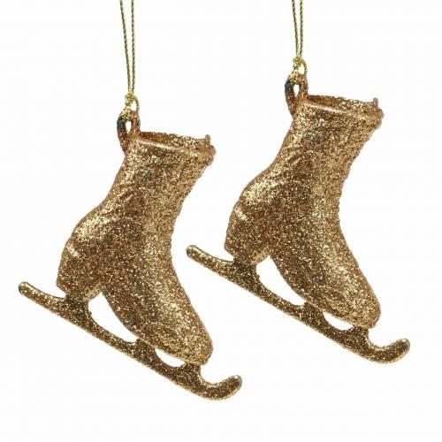 Décorations pour arbres de Noël patin à glace or, paillettes 8cm 12pcs