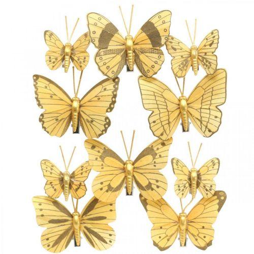 Papillon de printemps avec clip doré décoration de printemps 6cm 10pcs dans un ensemble